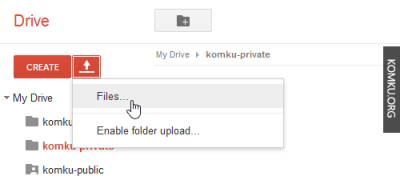 click upload button